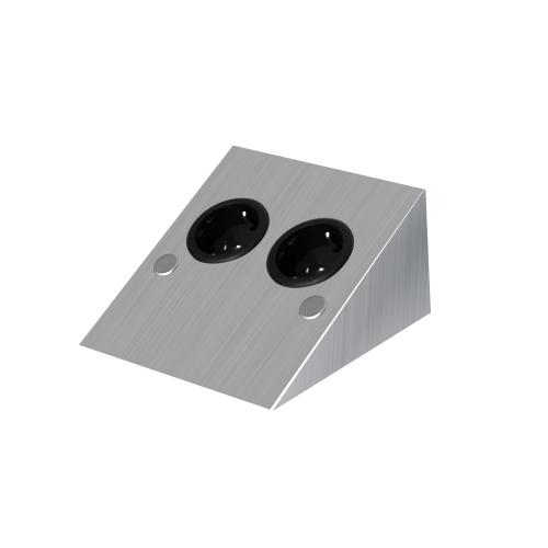 steckdosenleiste 2 fach mit schuko steckdosen edelstahl. Black Bedroom Furniture Sets. Home Design Ideas