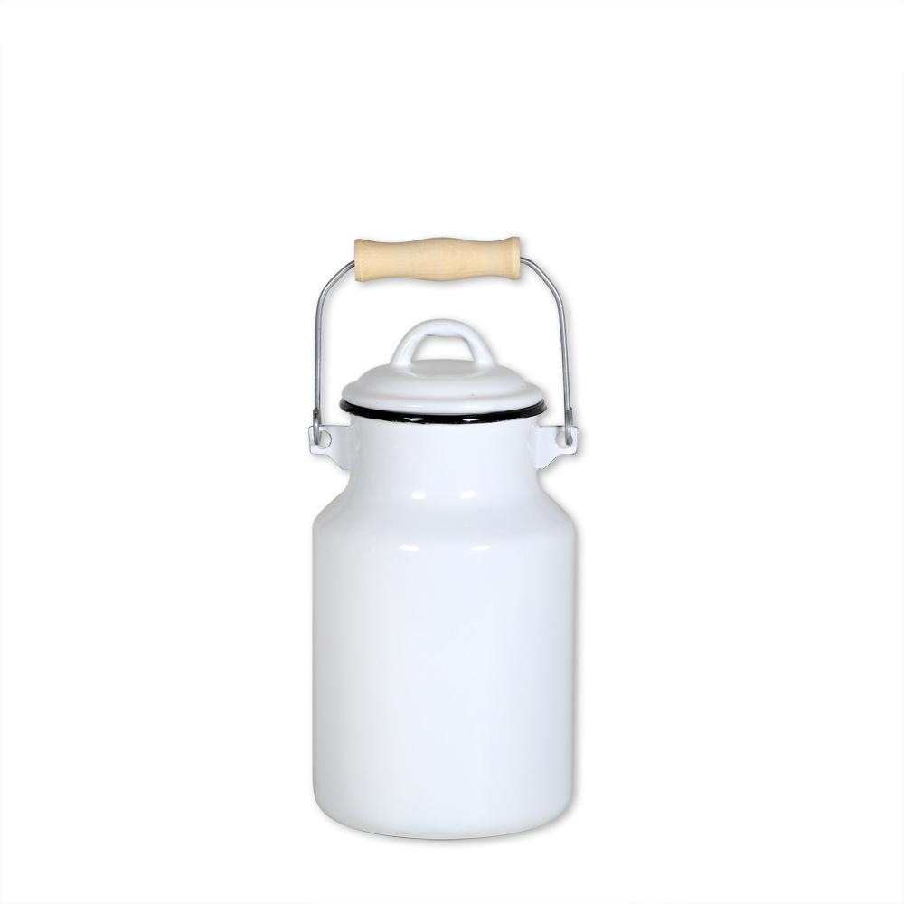 milchkanne 2 liter mit deckel und tragegriff emaille wei ebay. Black Bedroom Furniture Sets. Home Design Ideas