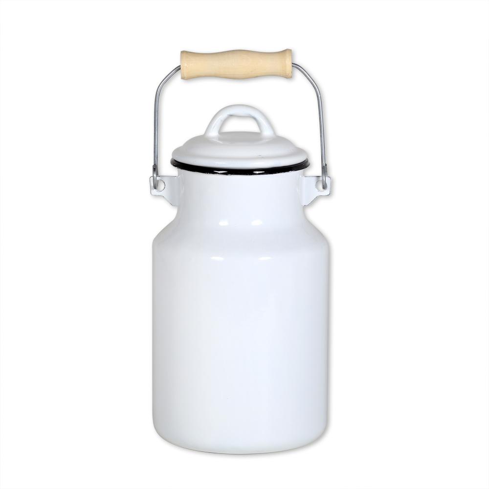 milchkanne 4 liter mit deckel und tragegriff emaille wei ebay. Black Bedroom Furniture Sets. Home Design Ideas
