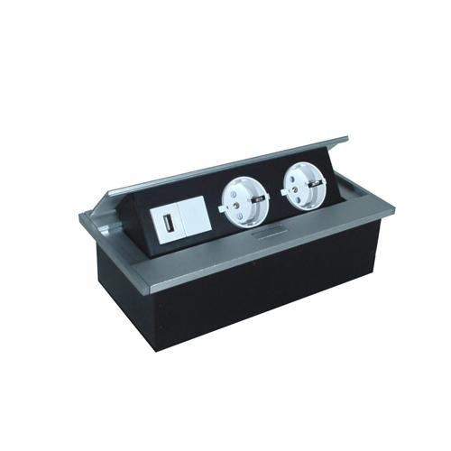 aluminium tischsteckdose deutsche norm mit 2 steckpl tzen und usb ladestation ebay. Black Bedroom Furniture Sets. Home Design Ideas