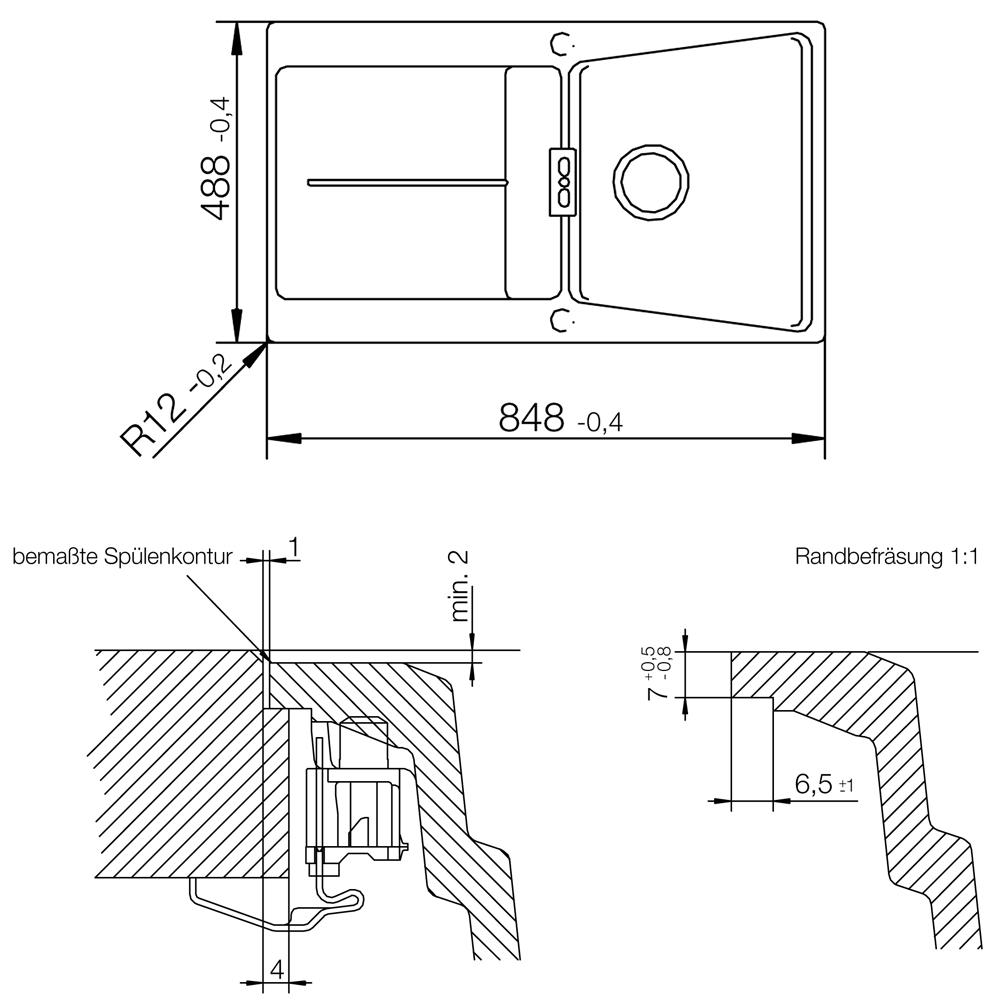 schock fl chenb ndige sp le opus d 100 in magma inkl resteschale aus edelstahl ebay. Black Bedroom Furniture Sets. Home Design Ideas