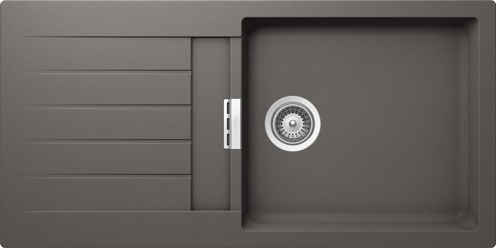 schock sp le signus d 100l in silverstone mit schneidbrett. Black Bedroom Furniture Sets. Home Design Ideas