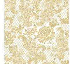 Servietten Lace Royal embossed pearl gold 33 x 33 cm ppd 007658