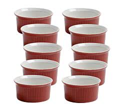 10er SET Ofenform Rot Ø 6,5 cm Coloured Cottage Maxwell & Williams