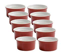 10er Set Ofenform rot 8,5 x 4,4 cm COLOURED COTTAGE