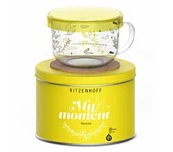 Ritzenhoff MY MOMENT Teeglas 0,45 l mit Glasdeckel Kurz Kurz Design 2016 (love tea)
