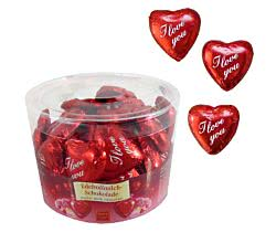 "50er SET Herz ""I love you"", lose 9 g, in Dose / Schokolade Herzen / Valentinstag / Muttertag"