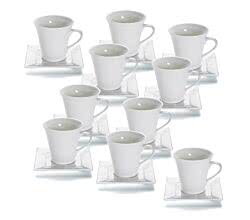10er SET - Tasse m Untertasse eckig 245 ml SQUARE Maxwell & Williams / Kaffeetasse / Teetasse