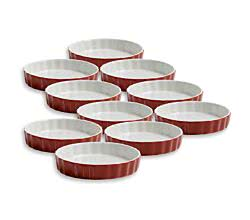 10er SET Quiche Ofenform rot 13 cm / Maxwell & Williams / White Basics / Coloured Cottage / Backform / Quicheform