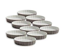 10er SET Quiche Ofenform grau 13 cm / Maxwell & Williams / White Basics / Coloured Cottage / Backform / Quicheform