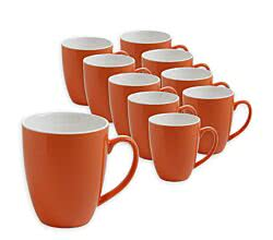 10er SET Becher 350 ml PAINT orange / Maxwell & Williams / White Basics / Mug / Pott