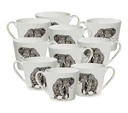 10er SET Maxwell & Williams DX0510 MARINI FERLAZZO Becher breit AFRICAN ELEPHANT, Premium-Keramik, in Geschenkbox