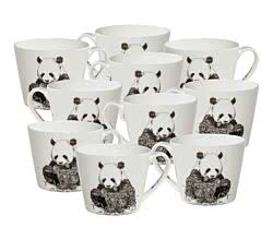 10er SET Maxwell & Williams DX0512 MARINI FERLAZZO Becher breit GIANT PANDA, Premium-Keramik, in Geschenkbox
