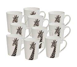 10er SET Maxwell & Williams DX0514 MARINI FERLAZZO Becher hoch AFRICAN GIRAFFE, Premium-Keramik, in Geschenkbox