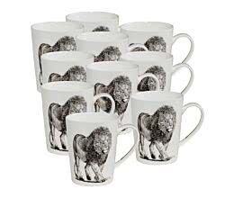 10er SET Maxwell & Williams DX0515 MARINI FERLAZZO Becher hoch AFRICAN LION, Premium-Keramik, in Geschenkbox