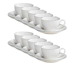 10er SET Maxwell & Williams Edge Espressotasse mit Untertasse, Premium-Keramik, FX0029