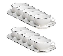 10er SET Maxwell & Williams Edge Tasse mit Untertasse, Premium-Keramik, FX0030