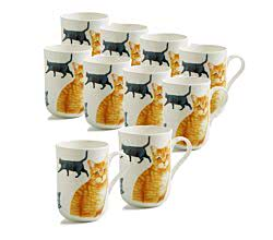 10er SET Cat Becher 350 ml Britisch Kurzhaar / Maxwell & Williams PETS