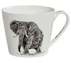 Maxwell & Williams DX0510 MARINI FERLAZZO Becher breit AFRICAN ELEPHANT, Premium-Keramik, in Geschenkbox