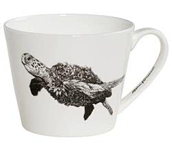 Maxwell & Williams DX0513 MARINI FERLAZZO Becher breit GREEN SEA TURTLE, Premium-Keramik, in Geschenkbox