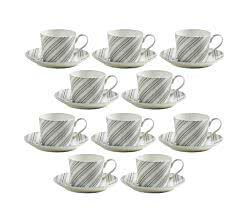10er SET ART DECO Bone China Porzellan Tasse gestreift