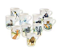 Becher 350 ml ANIMALS of the world / Maxwell & Williams Bone China / Trinkbecher / Porzellantasse