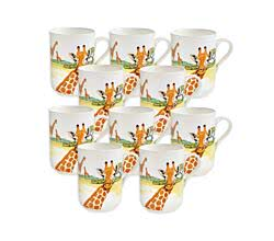 10er SET - Becher GIRAFFE 350 ml ANIMALS of the world / Maxwell & Williams Bone China / Trinkbecher / Porzellantasse