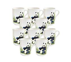 10er SET - Becher PANDA 350 ml ANIMALS of the world / Maxwell & Williams Bone China / Trinkbecher / Porzellantasse