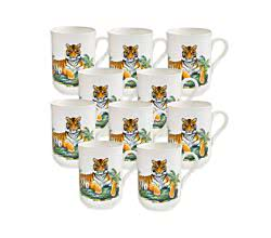 10er SET - Becher TIGER 350 ml ANIMALS of the world / Maxwell & Williams Bone China / Trinkbecher / Porzellantasse