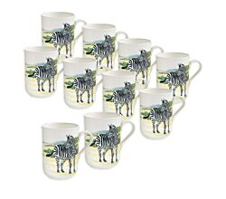 10er SET - Becher ZEBRA 350 ml ANIMALS of the world / Maxwell & Williams Bone China / Trinkbecher / Porzellantasse
