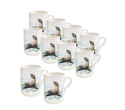 10er SET - Becher SEEHUND 350 ml ANIMALS of the world / Maxwell & Williams Bone China / Trinkbecher / Porzellantasse