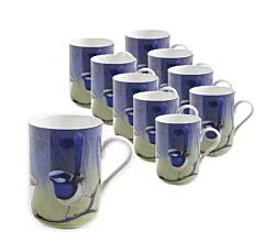 10er SET Becher 330 ml PRACHTSTAFFELSCHWANZ dkl Birds of Australia / Maxwell & Williams / Bone China / Katherine Castle / Kaffeebecher / Pott