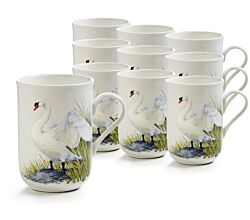 10er SET Becher 330 ml SCHWAN - Birds of the World - Maxwell & Williams / Bone China / Kaffeebecher / Pott