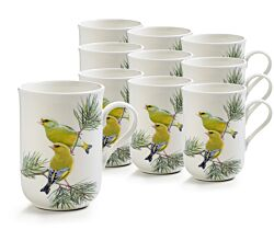10er SET Becher 330 ml GRÜNFINK - Birds of the World - Maxwell & Williams / Bone China / Kaffeebecher / Pott
