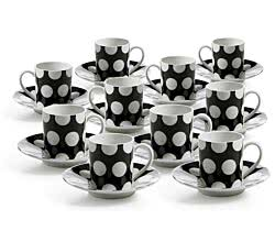 10er SET Espressotasse 100 ml mit Untertasse in schwarz / Maxwell & Williams / White Basics / Polka Dot / Tasse