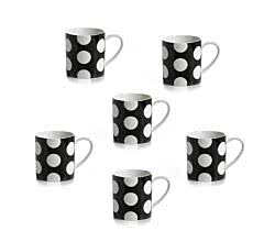 6er SET Becher 360 ml schwarz Polka Dot von Maxwell & Williams
