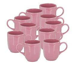 10er SET CreaTable 22133 PINK LADY Kaffeebecher 40 cl, berry / Steingut / Becher