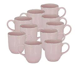 10er SET CreaTable 22112 PINK LADY Kaffeebecher 40 cl, pink / Steingut / Becher