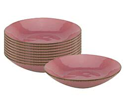 10er SET CreaTable 22135 PINK LADY Suppen- / Pastateller 22,5 cm, berry / Teller / Steingut / Suppenteller