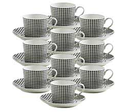 10er SET ART DECO Bone China Porzellan Tasse Hahnentritt
