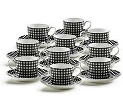 10er SET ART DECO Tasse Motiv - KARO - Bone China Porzellan / Maxwell und Williams