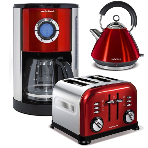kaffeemaschine toaster wasserkocher accents red set 3. Black Bedroom Furniture Sets. Home Design Ideas